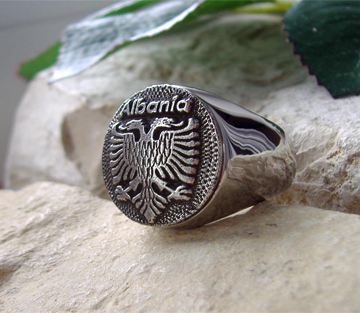 AJS  Albania Ring Fraga Coin Seal Stamp Steel Silver  D75